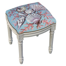 Coral and Shell Needlepoint Vanity Stool   Coral and Shell Stool   C932WFS