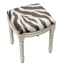 Zebra Stripe Upholstered Vanity Stool | Zebra Vanity Stool | CS009WFS-GY