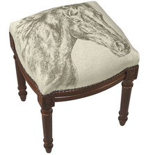 Horse Upholstered Vanity Stool | Horse Vanity Stool | CS035FS-GY
