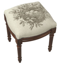 Bird's Nest Upholstered Vanity Stool | Bird's Nest Vanity Stool | CS036FS-GY