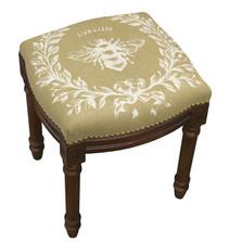 Bee French Upholstered Vanity Stool   Napoleon Bee Vanity Stool   CS049FS-BE