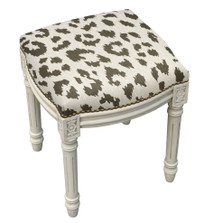 Cheetah Print Upholstered Vanity Stool | Cheetah Vanity Stool | CS065WFS-GY