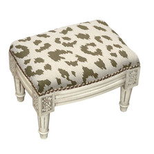 Cheetah Print Upholstered Footstool | Cheetah Footstool | CS065WFSS-GY