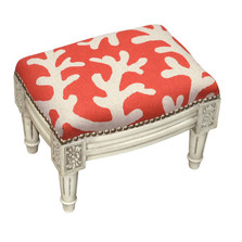 Coral Print Upholstered Footstool | Coral Footstool | CS068WFSS-CO