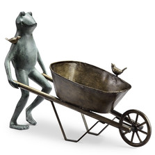 Frog and Wheelbarrow Garden Planter | 34146 | SPI Home