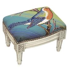 Blue Bird Needlepoint Footstool | Bird Footstool | KR103WFSS
