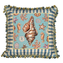Conch Shell Needlepoint Pillow | Shell Needlepoint Pillow | C701.18x18