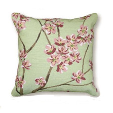 Green Blossom Needlepoint Pillow | Flower Needlepoint Pillow | C920B.20x20