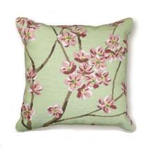 Green Blossom Needlepoint Pillow | Flower Needlepoint Pillow | C920B.20x20
