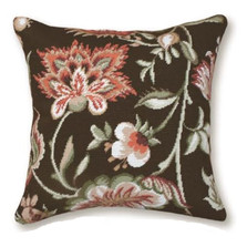 Jacobean Floral Needlepoint Pillow | Flower Needlepoint Pillow | C909.20x20