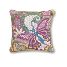 Butterfly Needlepoint Pillow | Butterfly Needlepoint Pillow | KR107.18x18
