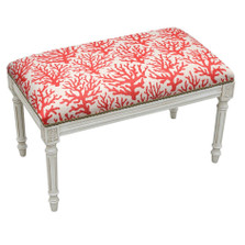 Coral Print Bench | Upholstered Coral Bench | CS101WBC-CO