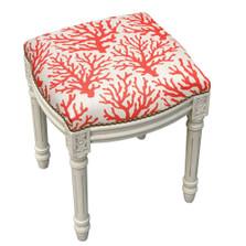 Coral Print Upholstered Vanity Stool | Coral Print Vanity Stool | CS101WFS-CO