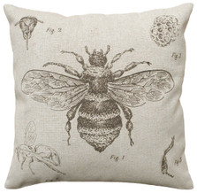 Bee Study Upholstered Pillow | Bee Pillow | CS016P-GY.18x18