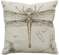 Dragonfly Study Upholstered Pillow | Dragonfly Pillow | CS018P-GY.18x18