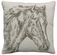 Horse Upholstered Pillow | Horse Pillow | CS035P-GY.18x18