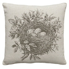 Bird's Nest Upholstered Pillow | Bird Pillow | CS036P-GY.18x18