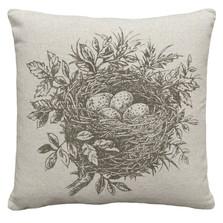 Bird's Nest Upholstered Pillow | Bird Pillow | CS036P-GY.18x18