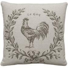 Rooster Upholstered Pillow | Rooster Pillow | CS039P-GY.18x18