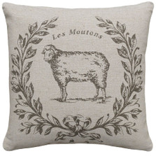 Sheep Upholstered Pillow | Sheep Pillow | CS041P-GY.18x18