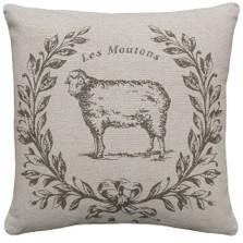 Sheep Upholstered Pillow | Sheep Pillow | CS041P-GY.18x18
