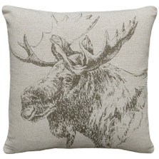 Moose Upholstered Pillow | Moose Pillow | CS043P-GY.18x18