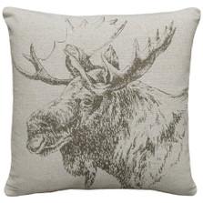 Moose Upholstered Pillow | Moose Pillow | CS043P-GY.18x18