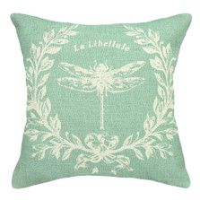 Dragonfly French Upholstered Pillow | Dragonfly Pillow | CS050P-AQ.18x18