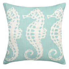 Seahorse Upholstered Pillow | Seahorse Pillow | CS102P-AQ.20x20
