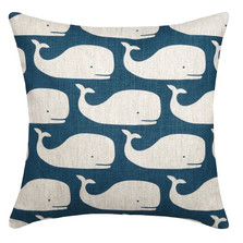 Whale Upholstered Pillow | Whale Pillow | CS103P-NY.20x20