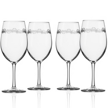 """Crab 18 oz Wine Glass Set of 4 """"Cast of Crabs"""" 