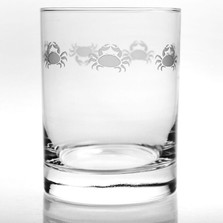"Crab Double Old Fashion Drink Glass Set of 4 ""Cast of Crabs""  