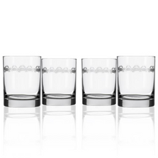 """Crab Double Old Fashion Drink Glass Set of 4 """"Cast of Crabs""""  