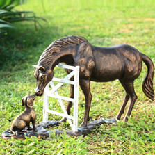 "Horse & Dog Sculpture ""Barnyard Pals"" | 33723 | SPI Home"