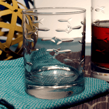 Fish Double Old Fashioned Drink Glass Set of 4 | Rolf Glass | 600000-2
