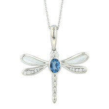 Dragonfly 14K White Gold Inlay Pendant Necklace | Kabana Jewelry | WPCF682LTMW-CH