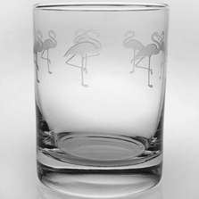 """Flamingo Double Old Fashioned Drink Glass Set of 4 """"Flock of Flamingos""""  