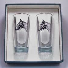 "Horse Beer Glass Set | ""Seabiscuit"" 