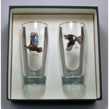 "Turkey and Grouse Beer Glass Set | ""Gamebirds"" 