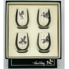 "Bird Stemless Wine Glass Set | ""Gamebirds"" 