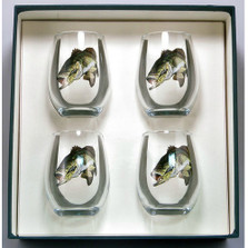 Bass Fish Stemless Wine Glass Set | Richard Bishop | 2079BAS