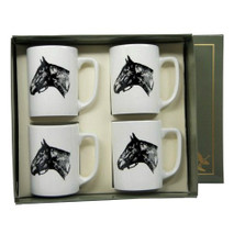 "Horse Porcelain Coffee Mug Set | ""Seabiscuit"" 