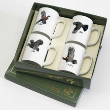 "Bird Porcelain Coffee Mug Set | ""Gamebirds"" 