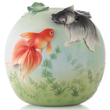 Goldfish Sculptured Porcelain Vase | Great Happieness | FZ03530 | Franz Collection
