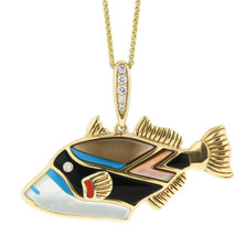 Tropical Fish 14K Yellow Gold Inlay Pendant Necklace | Kabana Jewelry | GPCF652MMS-CH