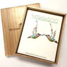 Jazz Hummingbird Cloisonne Wire Earrings | Bamboo Jewelry | BJ0307e