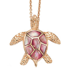 Sea Turtle 14K Rose Gold Inlay Pendant Necklace | Kabana Jewelry | GPCNPC192MP-CH