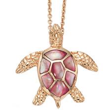 Sea Turtle 14K Rose Gold Inlay Pendant Necklace | Kabana Jewelry | GPCNPC192MP-CH