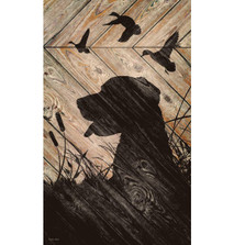Dog and Birds Silhouette Wood Wall Art | Wild Wings | 5209606106