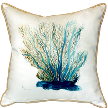 Blue Coral Indoor Outdoor Pillow 22x22 | Betsy Drake | BDZP703